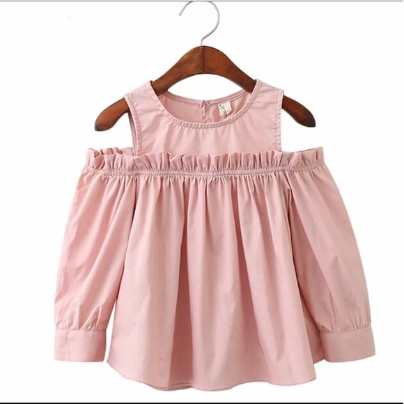 Coobola Other - NWT Girls Solid Peach Split Shoulder Spring Top